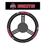 NCAA Ohio State Buckeyes Massage Steering Wheel Cover, Black, One Size