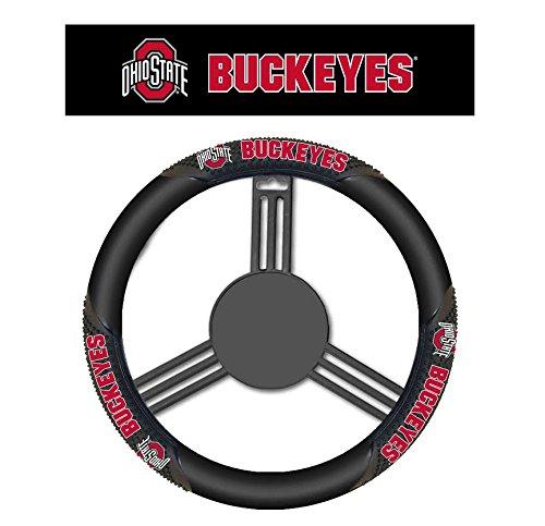 NCAA Ohio State Buckeyes Massage Steering Wheel Cover, Black, One (Fremont Steering Wheel Cover)