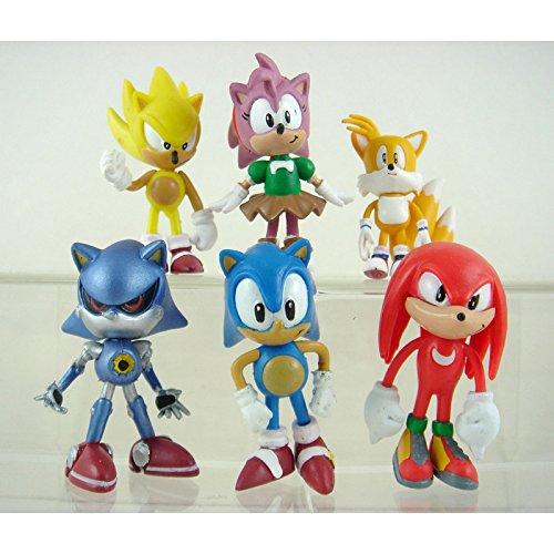 """6pcs Set Sonic the Hedgehog Amy Tails Mephiles Knuckles 6cm/2.4"""" PVC Figure Toys"""
