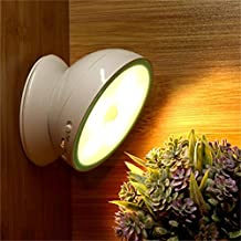 Magnetic 360 Auto Motion Sensing Induction led Light Rotating Revolving Night Flood Infrared Timing Solar Light Fixtures Motion Sensor Lighting Lamp Cabinet Toilet Security (chargeble warm light)