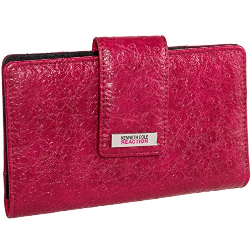 Kenneth Cole Zipper Wallet (Kenneth Cole Reaction Womens Ostrich Tab Utility Clutch Wallet w/ Mirror (Red))