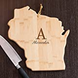 Personalized Family Initial Wisconsin State Cutting Board, 12'' W x 13 '' L, Bamboo