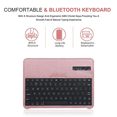 iPad 11 Keyboard Case for 2018 iPad Pro, Dingrich 360 Rotation Leather Case with Keyboard for iPad Pro 11 inch, [Support Apple Pencil Charging],Detachable Bluetooth Keyboard,Rose Gold