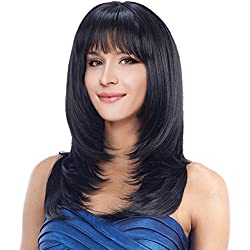 "Kalyss 22"" Long Straight Layered Black Yaki Synthetic Wig with Hair Bangs Heat Resistant Synthetic Full Head Wig for Women None Lace front Premium Synthetic Hair Replacement Wig"
