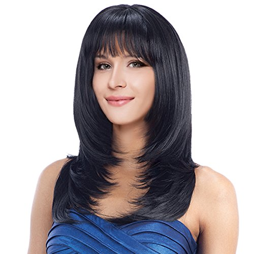 """Kalyss 22"""" Long Straight Layered Black Yaki Synthetic Wig with Hair Bangs Heat Resistant Synthetic Full Head Wig for Women None Lace front Premium Synthetic Hair Replacement Wig"""