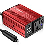 Poweradd 150W Car Power Inverter 12V/DC to 110V/AC Converter with Dual USB Ports (3.1A Total) for Smartphones, Tablet, Laptop, Breast pump, Nebulizer and More - Red
