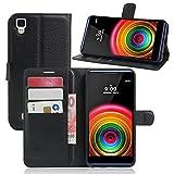 LG X Power Flip Cover, Original Ziaon(TM) Len Series 100% Faux Leather Flip Stand Wallet Case For LG X Power - Mangnetic Lock- Black