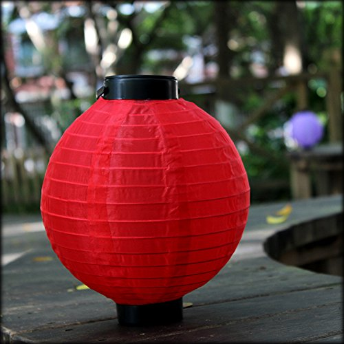 ThiKin Red Solar Powered Paper Lantern Chinese Style Hanging Metal Frame Oriental Nylon LED Lantern (2 Pack,8-Inch), Perfect for Patios, Backyards, New Year, Weddings and Landscape Décor