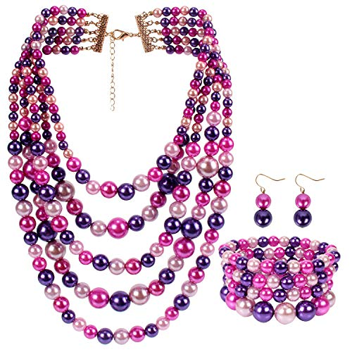 LuckyHouse Faux Pearl Strands Jewelry Sets for Women Mix Pink Tone Include Necklace Bracelet and Earrings Set