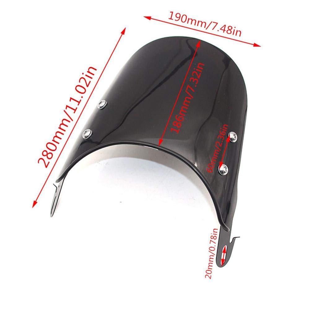Jannyshop Motorcycle Windshield Airflow Adjustable Windscreen Wind Deflector for Honda Yamaha Kawasaki Suzuki 5-7 inch Headlights