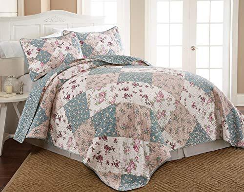 Blue Garden Bedspread - Chezmoi Collection Jolie 3-Piece Garden Floral Vintage Washed 100%-Cotton Reversible Diamond Patchwork Quilt Set, King