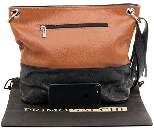 Incudes Leather Primo Storage amp; Branded Textured Tan Bag Crossbody Bag Sacchi Protective Black Italian Shoulder tFFZ0q