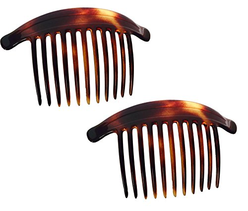 Shell Hair Comb - Parcelona French 11 Teeth Set of 2 Tortoise Shell Brown Interlocking Side Hair Comb Combs