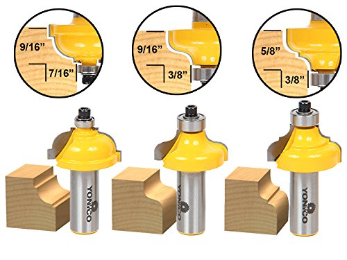 (Yonico 13327 3/8-Inch 3 Bit Edge Forming Router Bit Set 1/2-Inch Shank)