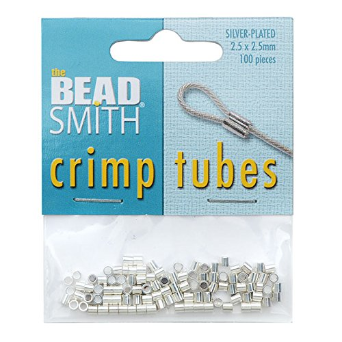 Beadsmith Crimp Tubes 2.5x2.5mm 100-pieces Silver Plated
