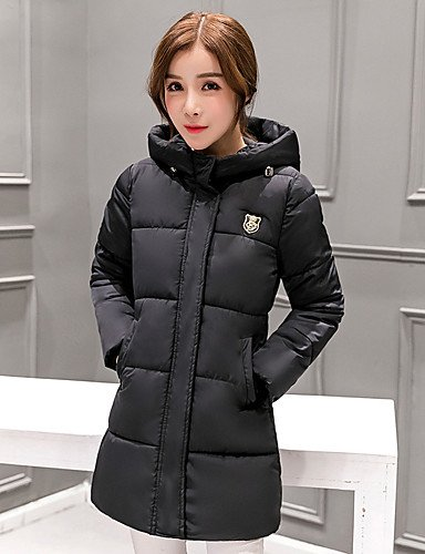 40415537f6f ELECTROPRIME Women s Long Padded CoatSimple Street Chic Fashion Applique  Slim Plus Size Going Out Solid Sleeveless Hooded  Amazon.in  Clothing    Accessories