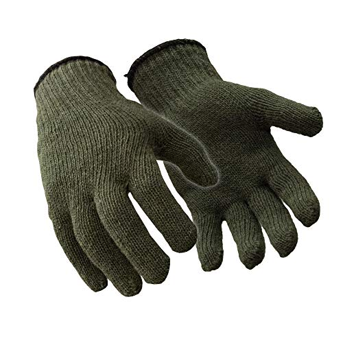 RefrigiWear Military Style Ragg Wool Glove Liners (Green, Small/Medium) - PACK OF 12 PAIRS
