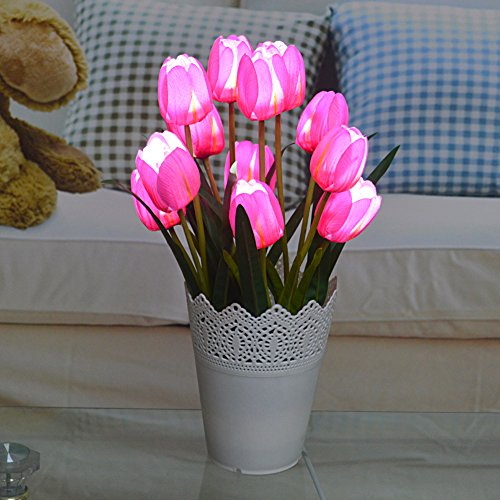 Toponechoice 12 Pcs Realistic Artificial Tulip Flowers Ar...