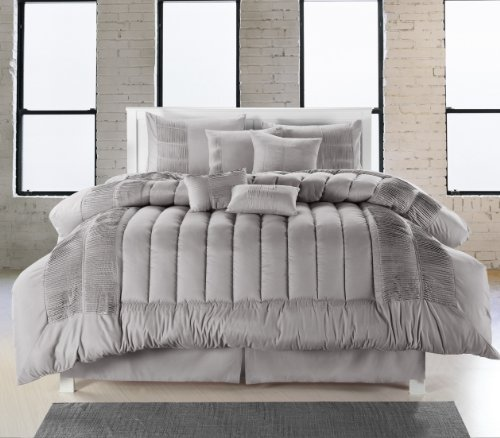 Chic Home 8-Piece Seville Oversized Comforter Set, Queen, Silver - Casa Seville Collection