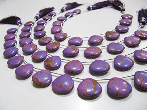 AAA Quality Purple Copper Turquoise Heart Shape Plain Smooth 14-15mm Beads Strand 8 ()