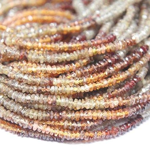 Beads Bazar Natural Beautiful jewellery Natural Multi Sapphire Faceted Micro Rondelle Loose Craft Beads Strand 14