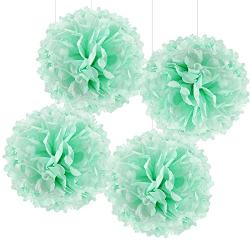 Andaz Press Large Tissue Paper Pom Poms Hanging Decorations, Mint Green, 14-inch, 4-Pack, Twins 1st Birthday Baby Shower Baptism Easter Classroom Colored Party -