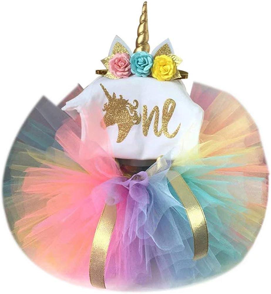 Frercocialo Niñas Ropas Unicornio Verano,Conjunto de Vestido Impreso Unicornio de Camiseta + Falda Tutú Arco Iris + Diedema Unicornio Flores Vestido ...