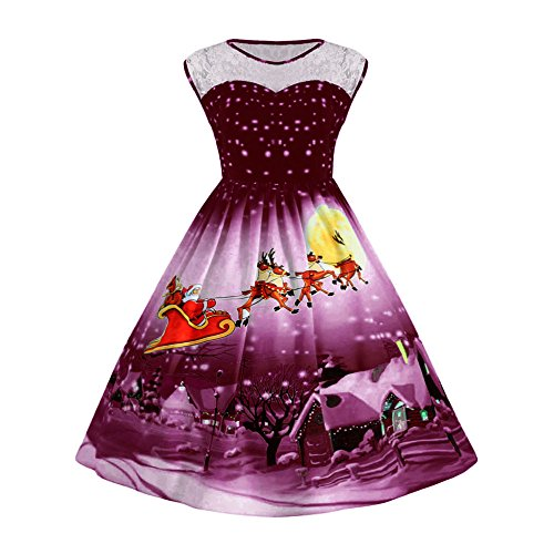 CUCUHAM Women Christmas Print Lace Pin Up Swing