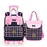 Meetbelify Rolling Backpacks For Girls School Bags with Wheels Wheeled Backpack with Pencil Case &Lunch Bag,Pink,Pack of 3