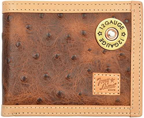 Custom 12 Gauge Tony Lama Brown Ostrich Print Bi-Fold Wallet