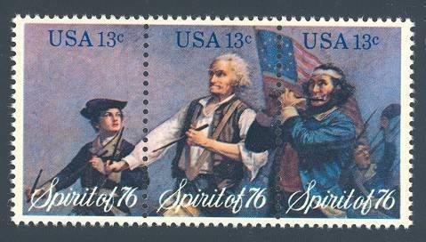 Strip of 3 collectible USA Bicentennial Stamps: Spirit of '76 by Archibald Willard, Scott #s 1629-31