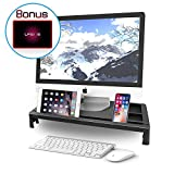 SubClap Monitor Stand Riser Desktop Storage Organizer for PC Monitor, iMac, Printer, Laptop with Tablet Phone Holder & Cable Management Slot, No USB Ports (Black)