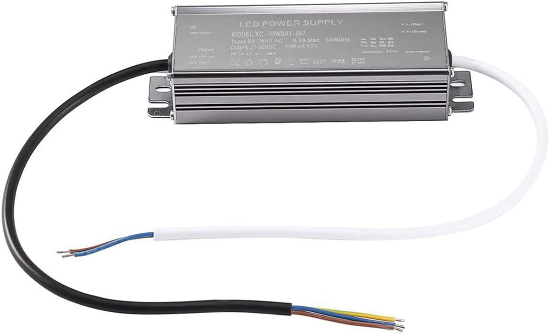 Detectorcatty Durable Input 85-265VAC 0.98Amax Output 23-35VDC 2100mA /±5/% 70W Waterproof IP65 LED Lighting Constant Current Power Supply