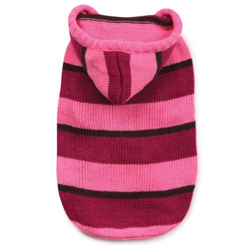 Pink Striped Dog Sweater (Zack & Zoey Acrylic Striped Knit Dog Hoodie, X-Small, Pink)