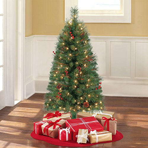 Holiday Time Pre-Lit 4' Chester Pine Artificial Christmas Tree, (4' Pre Lit Tree)
