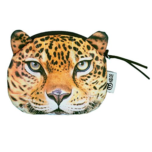 DukeTea Big Cat Face Coin Purse (Tiger, Lion, Leopard) Soft Cloth Zippered Change Pouch Leopard from DukeTea