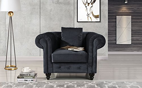 - Classic Scroll Arm Large Velvet Living Room Chesterfield Accent Chair (Black)
