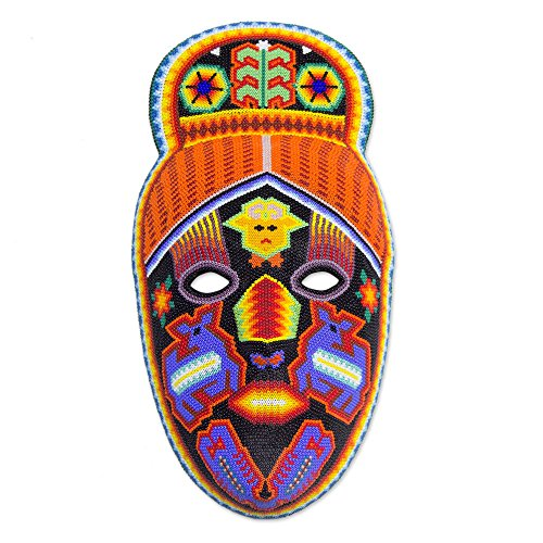NOVICA Decorative Huichol Beads Papier Mache Mask, Multicolor, 'Deer Shaman' (Shaman Mask)