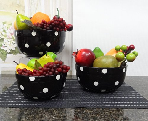 Set of 3 POLKA DOTS Black Ceramic Mixing Bowls, 82169MIX By ACK