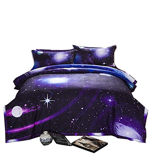 A Nice Night Galaxy 3D Printing Never Fade Quilt Outer Space Comforter Sets with 2 Matching Pillow Covers (Purple Bed Queen Set)