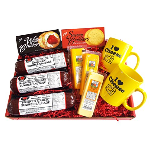 I LOVE CHEESE GOURMET Gift Basket- features Smoked Summer Sausages, Wisconsin cheese, crackers, and 2 Mugs with Wisconsin sayings!