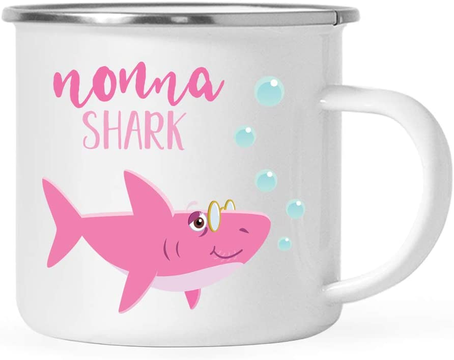 Andaz Press Baby Shark Family 11oz. Stainless Steel Campfire Coffee Mug Gift, Nonna Shark, 1-Pack, Camp Cup Shark Do Do Do Gift Idea Birthday Christmas Gifts for Nonna