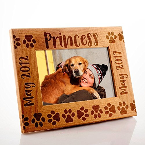 Lily's Atelier Personalized, Pet Memorial Picture Frame, Dog Memorial , Horizontal and Vertical Wooden Picture Photo Frame, 4x6 | 5x7 | 8x10 (Photo Dog Frame Personalized)