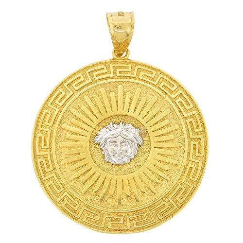 Shopjw Men's 10k Two-Tone Gold Medusa Medallion with Greek Key Accents Pendant, 2.10