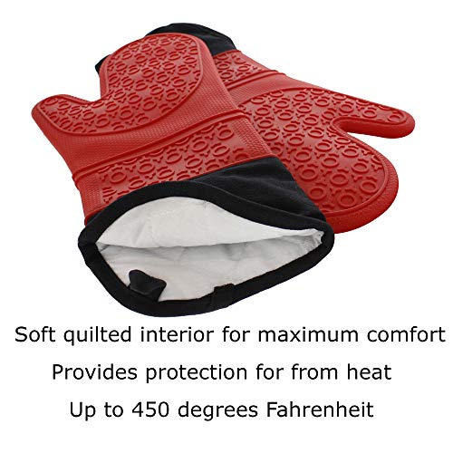 Elbee Home 642 Premium Extra Long Silicone Oven Mitts Set Soft Quilted Interior in, Red by Elbee Home (Image #1)