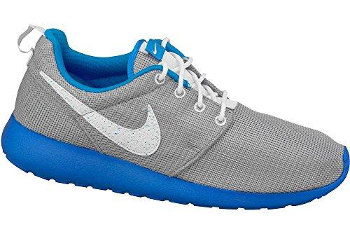 Nike Kids Rosherun (GS) Wolf Grey/White/Pht Blue/White Running Shoe 4 Kids US
