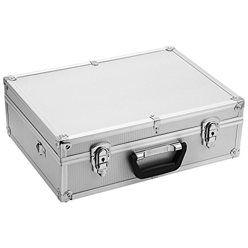Corgy Professional Aluminum Tool Box Hard Case Rugged Textured Carrying Case Divides Suitcase with Carrying Handle