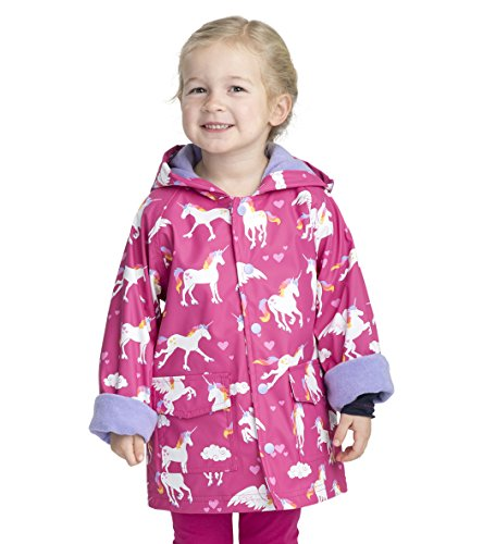 Hatley Girls' Big Printed Raincoats, Rainbow Unicorns, ()