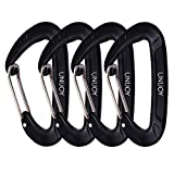 Unijoy Carabiner Clips, 4 Pack, 12KN Heavy Duty Wiregate Carabiners for Camping Hiking Hammock etc, Small Aluminium Caribeaners for Backpack and Dog Leash