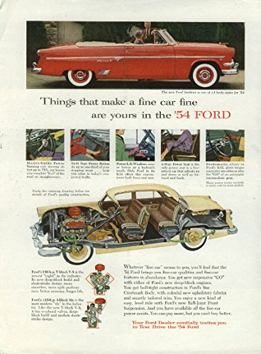 Things that make a fine car fine Ford Crestline Sunliner Convertible ad 1954 NY
